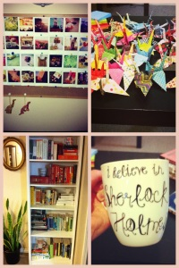 Rearranged apartment, ALL the paper cranes, and the amazing mug.